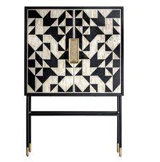 Bahut design 2 portes bois noir et blanc Sikota