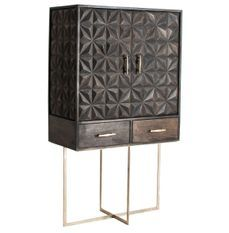 Bahut haut 2 portes 2 tiroirs manguier massif noir et métal doré Perko