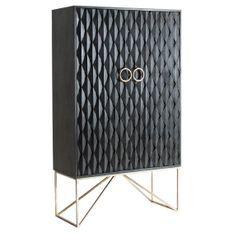 Bahut haut 2 portes manguier massif noir et métal doré Perko