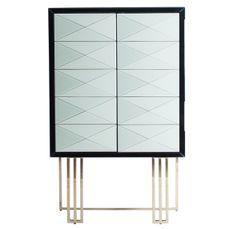 Bahut haut 2 portes miroir blanc et noir
