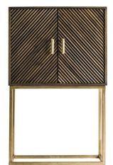 Bahut art déco 2 portes bois massif marron et métal doré Jamie 76 cm