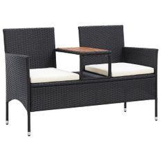 Banc de jardin 2places et table à thé 143cm Résine tressée Noir