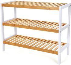 Banc meuble à chaussures bambou naturel et blanc 3 niveaux 70 cm