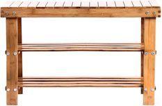 Banc meuble à rangement bambou naturel 3 niveaux 70 cm