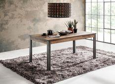 Table vintage vieux bois usé et métal gris avec rivets 160 cm