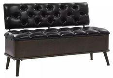 Banquette coffre capitonnée similicuir noir et pieds métal noir Palawa 120 cm