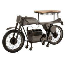 Bar motocyclette manguier massif clair et métal noir Verde