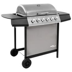 Barbecue gril à gaz avec 6 brûleurs Noir et argenté