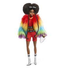 BARBIE EXTRA Manteau Multicolore Brune Coupe Afro