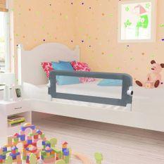 Barrière de sécurité de lit enfant Gris 102x42 cm Polyester
