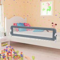 Barrière de sécurité de lit enfant Gris 180x42 cm Polyester