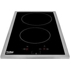 BEKO HDMC32400TX - Table de cuisson vitrocéramique - 2 zones - 3000W - L28,8 x P57cm - Revetement verre - Noir