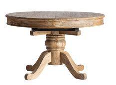 Table à manger ronde à rallonge bois d'orme massif Bukila 125/165 cm