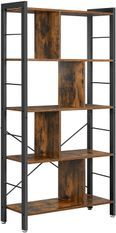 Bibliothèque 4 niveaux industriel brun rustique et noir Kaza 74 cm