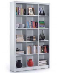 Bibliothèque 15 espaces bois melaminé blanc Robas L 114 x H 195 x P 30 cm