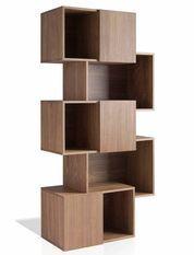 Bibliothèque 5 niveaux bois plaqué noyer Hena