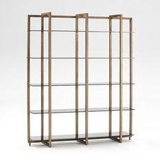 Bibliothèque 5 plateaux verre fumé et métal bronze Diras