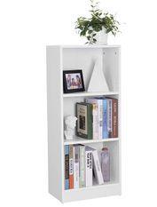 Bibliothèque à 3 niveaux réglables bois blanc Chika 40 cm