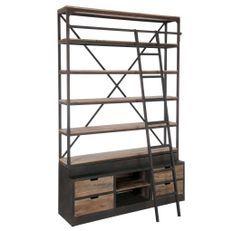 Bibliothèque avec échelle bois massif foncé et métal noir Jibel