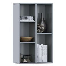 Bibliothèque bois gris brillant Athena 45 cm