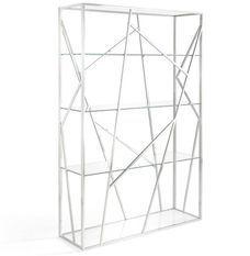 Bibliothèque design acier inoxydable et verre trempé Futura