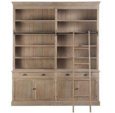 Bibliothèque avec échelle bois massif gris naturel patiné Bialli