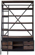 Bibliothèque industrielle avec échelle bois de Pin massif et acier noir Stone 160 cm