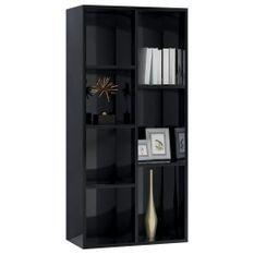 Bibliothèque Noir brillant 50x25x106 cm Aggloméré