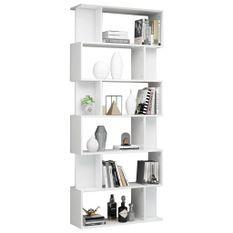 Bibliothèque/Séparateur de pièce Blanc brillant 80x24x192 cm
