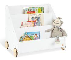 Bibliothèque sur roulettes bois laqué blanc Lasse
