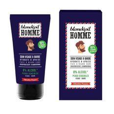 BLONDEPIL HOMME Soin Apaisant pour visage et barbe - 95% Naturel - Peaux sensibles - 75 ml
