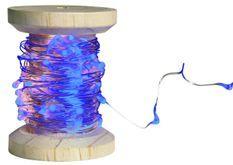 Bobine guirlande argentée 60 LED bleues
