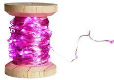 Bobine guirlande argentée 60 LED rose