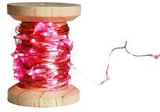 Bobine guirlande argentée 60 LED rouge