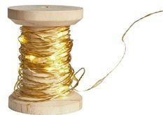 Bobine guirlande dorée 60 LED blanches