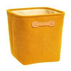 Boîte de rangement 31x31 cm - Velours Jaune