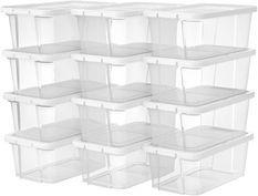 Boîte de rangement plastique transparent avec couvercle L 34,5 x P 19,5 x H 12,5 cm - Lot de 12