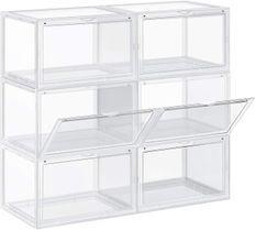 Boîtes à chaussures plastique blanc et transparent Boxy - Lot de 6