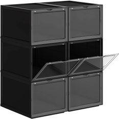Boîtes à chaussures plastique noir et transparent Koxy - Lot de 6