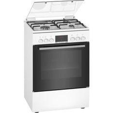 BOSCH HXR39IG20 - Cuisiniere mixte - 3 foyers gaz et 1 électrique - Four multifonction full ecoclean - 66 L - A - L 60 cm - Blanc