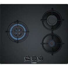 BOSCH PNC6B6B10 Table de cuisson gaz - 3 foyers - 7500 W - L 59 x P 52cm - Revetement verre - Coloris noir