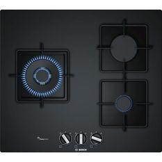BOSCH PPC6A6B10 Table de cuisson gaz - 3 foyers - 8000 W - L 59 x P 52 cm - Revetement verre - Noir
