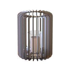 Bougeoir cylindrique métal gris Cordial