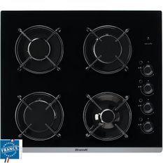 BRANDT BPG6413B-Table de cuisson gaz-4 foyers-L 51 x P 58 cm-Revetement verre-Noir