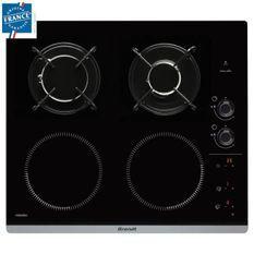 BRANDT BPI6413BM - Table de cuisson mixte induction / gaz - 4 zones - L 51 x P 58 cm - Revetement verre - Noir