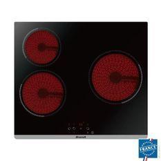 BRANDT BPV6320 - Table de cuisson vitrocéramique-3 zones-5300W-L60cm-Revetement verre-Noir