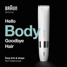 Braun Body Mini BS1000 Tondeuse Corps éléctrique pour Hommes et Femmes - Wet&Dry - Multi-usages - Blanc