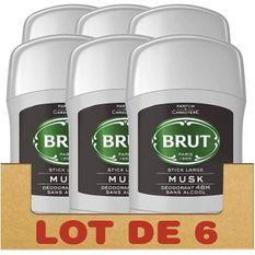BRUT Lot de 6 Déodorants Homme Stick Musk Sans Alcool Protection 48h - 50ml