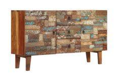 Buffet 2 portes 3 tiroirs bois foncé recyclé Moust