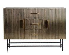 Buffet 2 portes 3 tiroirs métal vieux doré Valura 120 cm